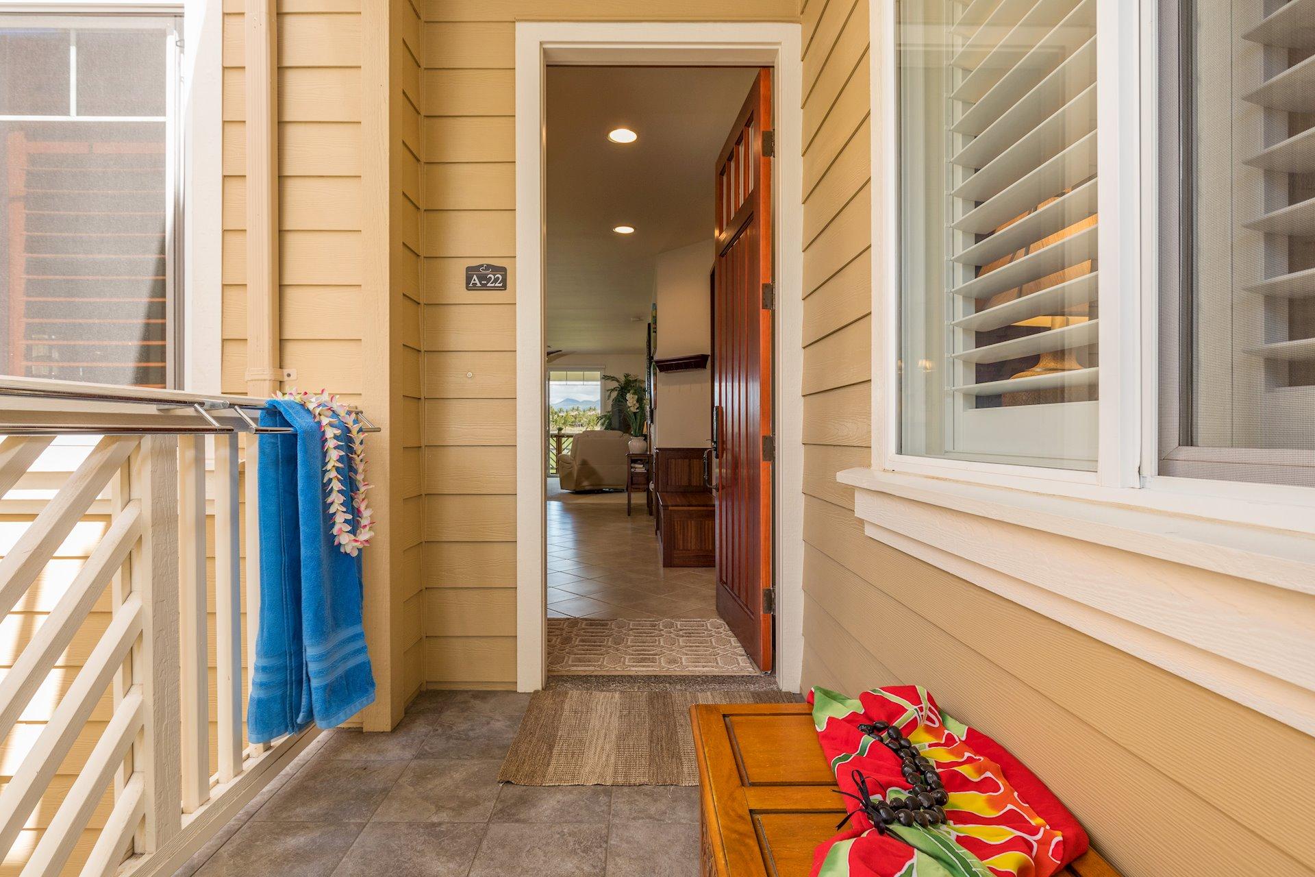 Entry lanai with towel racks