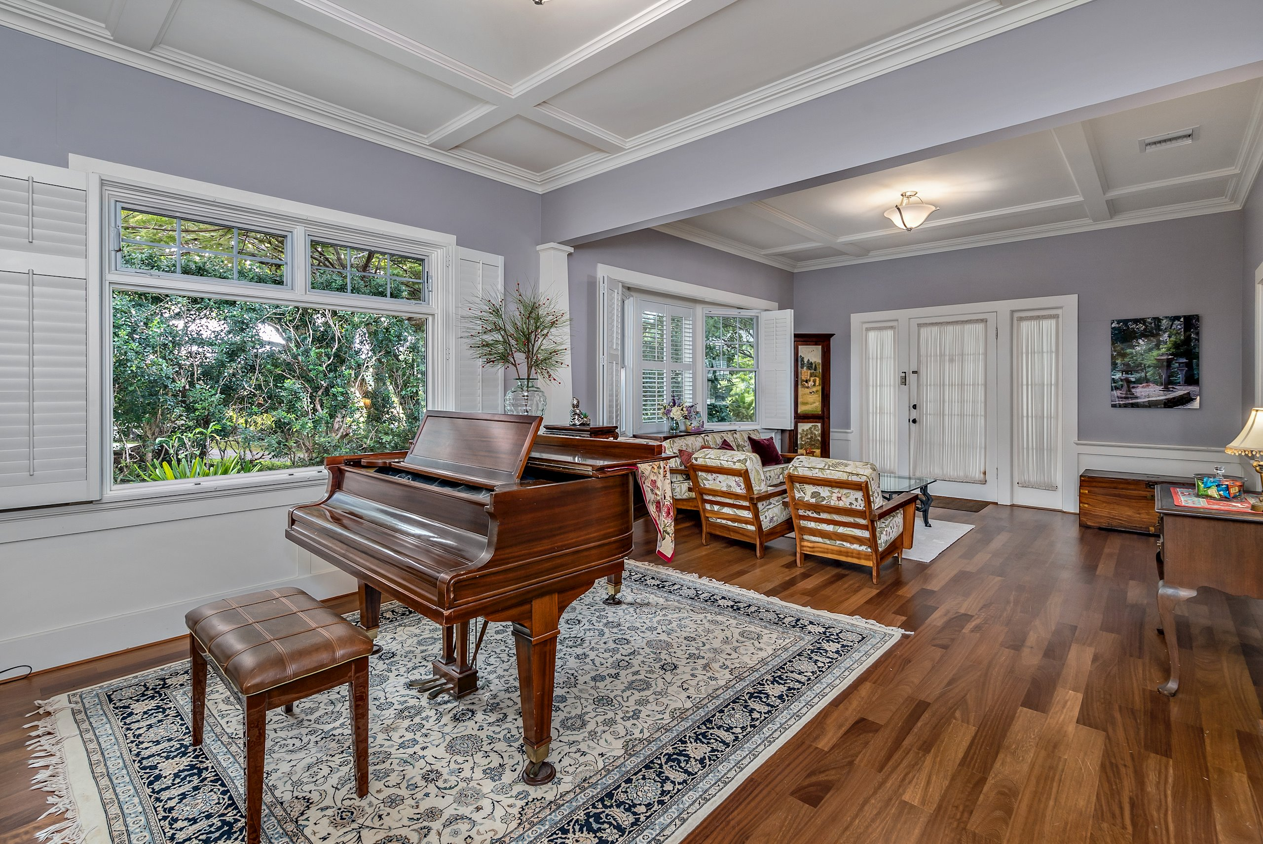 Double French door entry, Shutters on double-hung windows, 10' high coffered ceiling