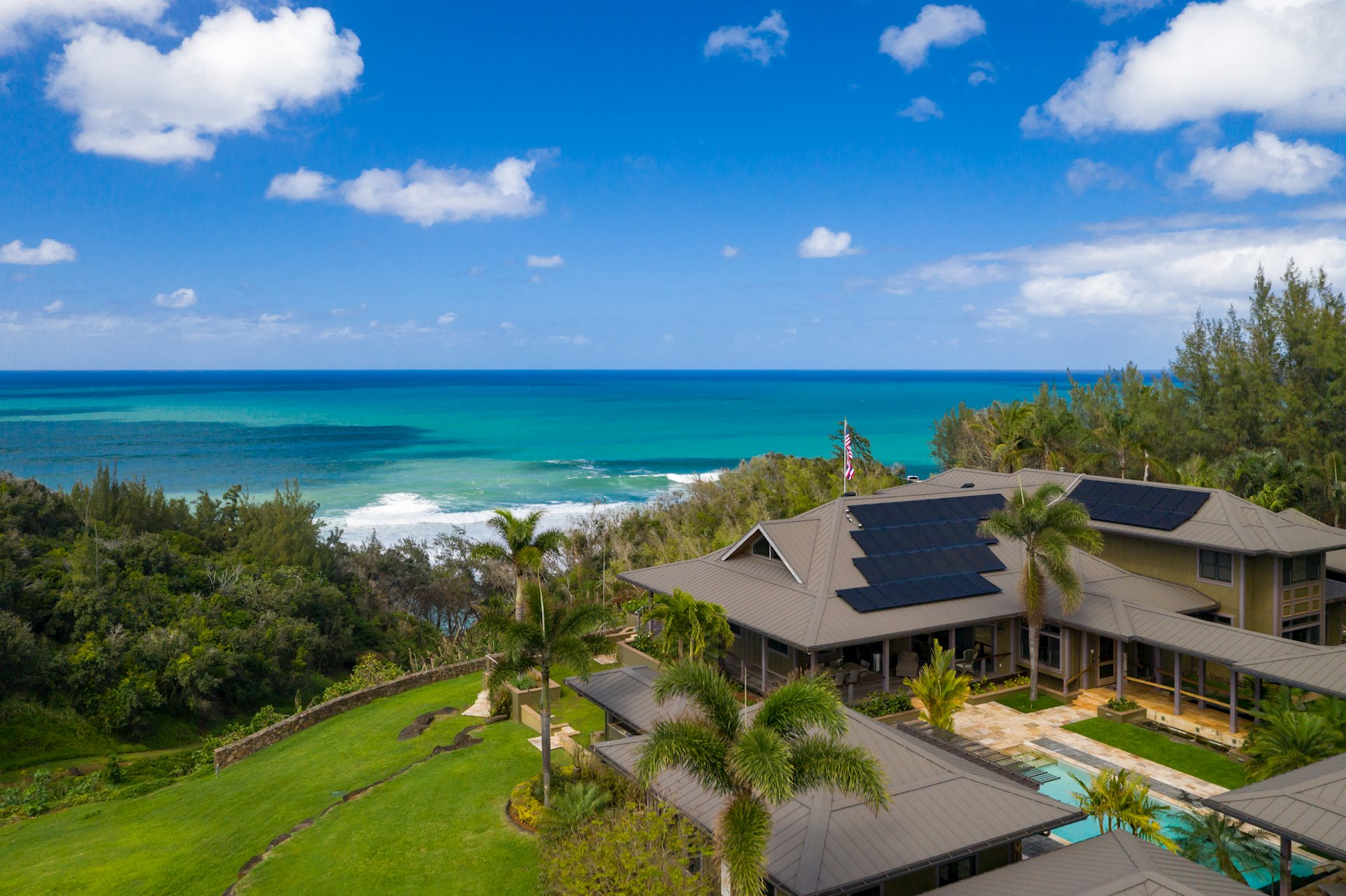 Nestled on an ocean bluff along Kauai's spectacular North Shore, Hale Ihilani boasts captivating views of the deep blue Pacific, lush tropical valley and rugged mountains and coast.  The impressive 5+ acre gated estate offers seclusion with an ideal vantage point to enjoy the island's dramatic views plus beach access! <br><br>With over 7,700 sqft of living, the estate was strategically designed to create the ultimate, luxury retreat. The spacious main living area opens to an extensive oceanfront lanai perfect for entertaining or seasonal whale watching. <br><br>A true Chef's kitchen is equipped with top-of-line appliances and features: Thermador refrigerator, Sub-Zero double freezer and refrigerator drawers, Gaggenau steam and convection ovens, warming drawer, espresso/coffee maker, custom island with Cherry wood butcher-block counter top, two Shaw Fireclay oversized farmhouse sinks with Industrial Faucets, granite counters and custom wood panels and Schaub Hardware.<br><br>Four impressive master suites offer spa-quality baths and views, two of which are positioned down breezeways as private 'pods,' each with its own kitchenette and/or wet bar.  A separate guest house features a folding glass wall and Bali-style bath.<br><br>Pristine living areas transition seamlessly to a stunning salt-water pool, fed by a Po'oka lava stone waterfall. The estate's Koi pond and unique Weeping Grotto offer additional tranquility.<br><br>Other features include: over-sized barn with finished loft, photo-voltaic solar, high-velocity A/C, fitness center, vaulted ceilings, walls of windows, a remarkable winding staircase, private elevator, Ribbon Mahogany furniture-grade cabinetry and more.  <br><br>Hale Ihilani truly is a one-of-a-kind, tropical retreat complete with all the modern, luxury essentials and astonishing views. It simply does not get any better than this.