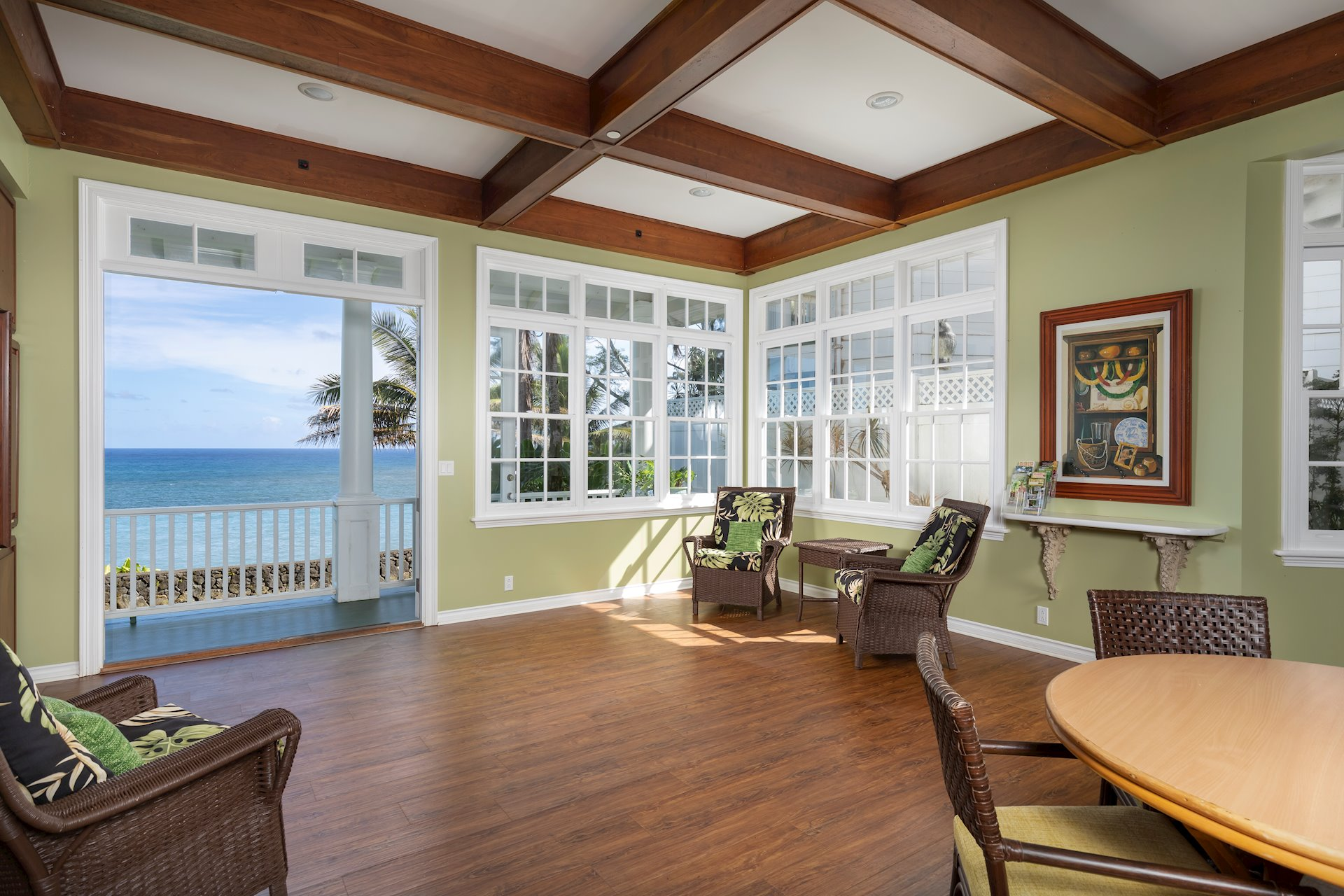 Formal oceanfront dining room with lanai.