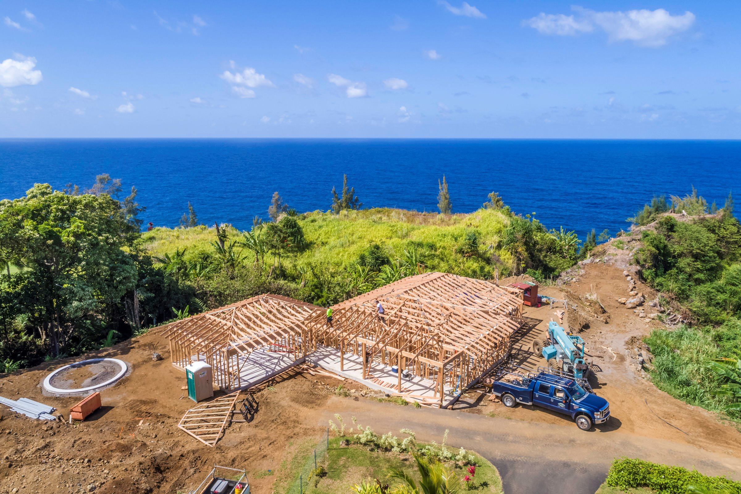 A shot taken during the recent construction of this brand new oceanfront home