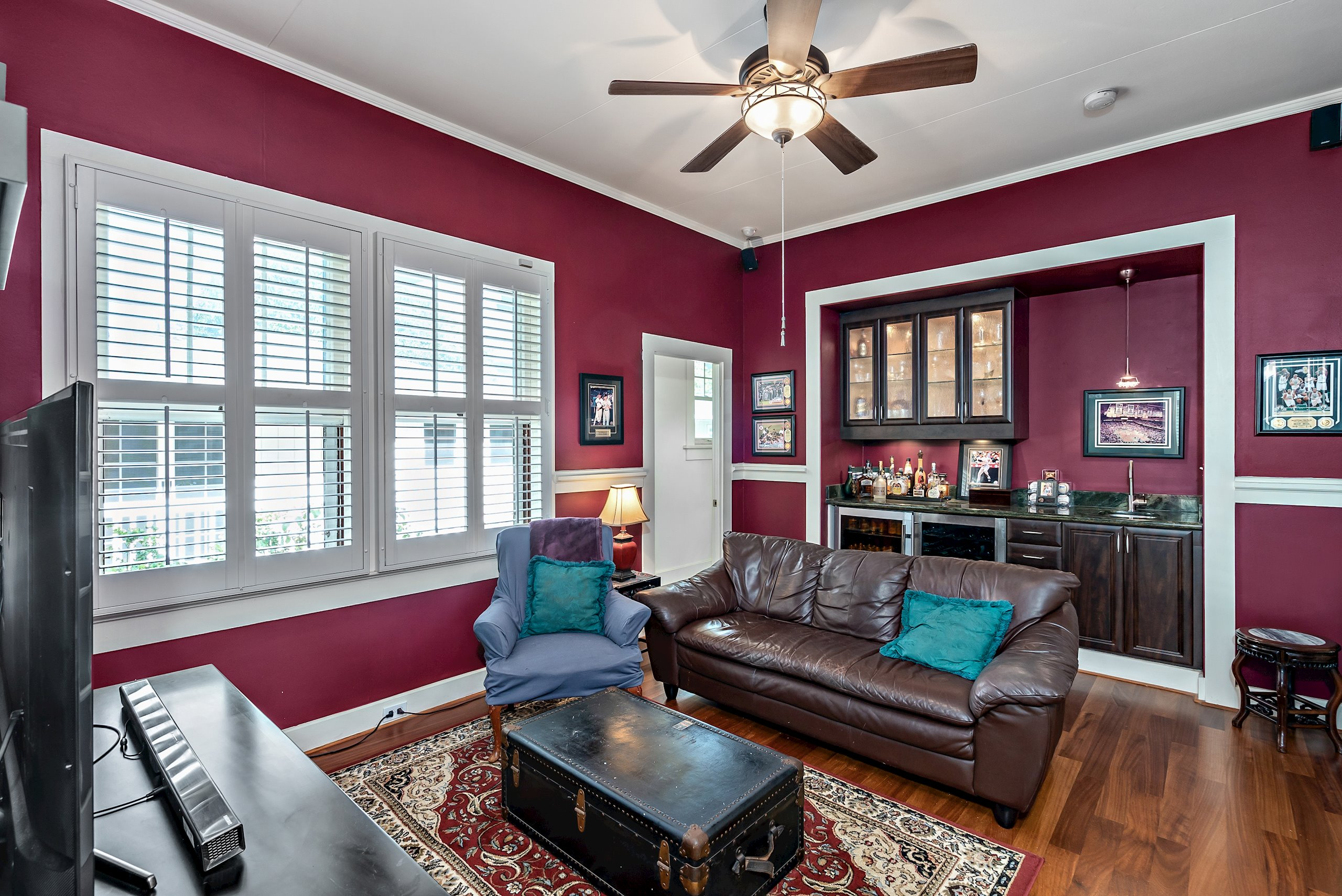 Family Room/Den with half bath, wet bar, 2 wine coolers