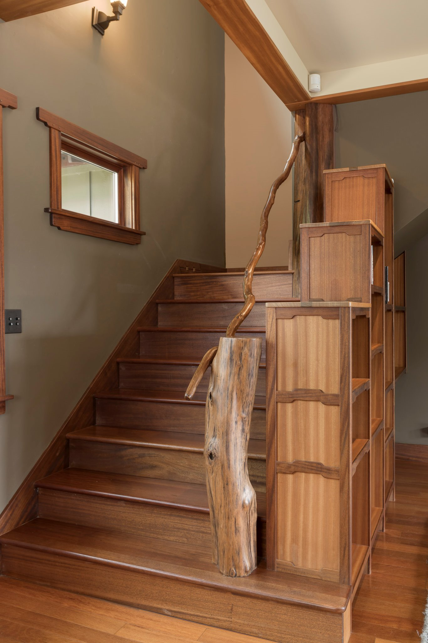 All wood detailing in the home was hand done by the builder. The stair treads are certified sustainable Brazilian Cherry.