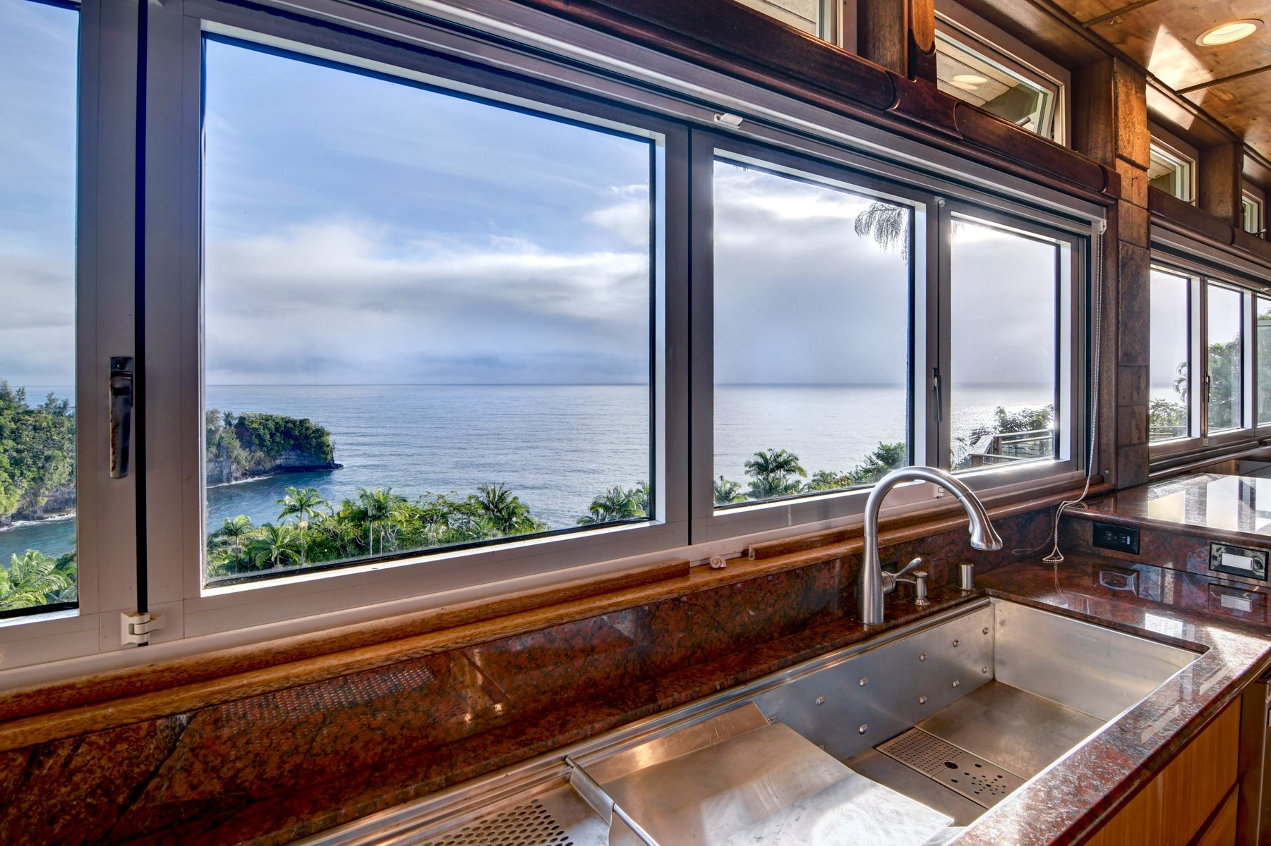 View of Onomea Bay from the main kitchen sink.