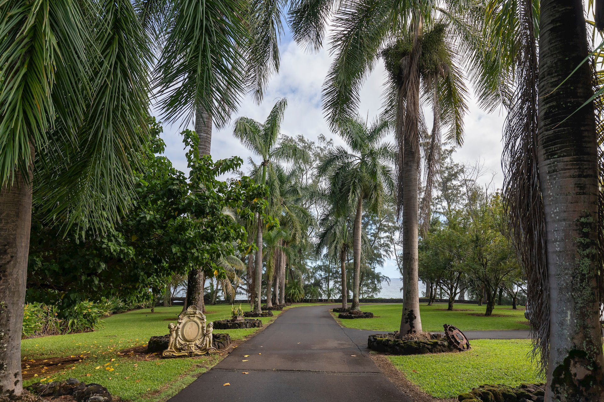A picture perfect palm lined driveway offers a stunning first impression of the combined grandeur of the lush tropical vegetation and ocean setting.