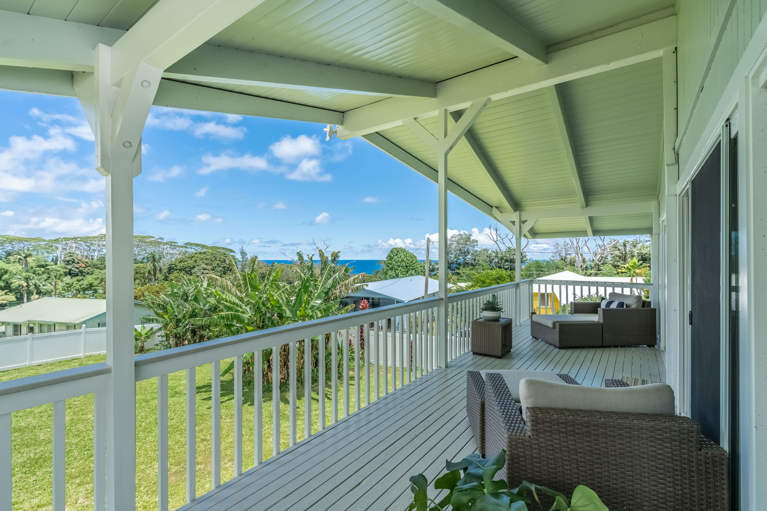 Large wrap-around ocean view deck offers plenty of space for lounge furniture, outdoor dining table, a reading nook, or crafts.