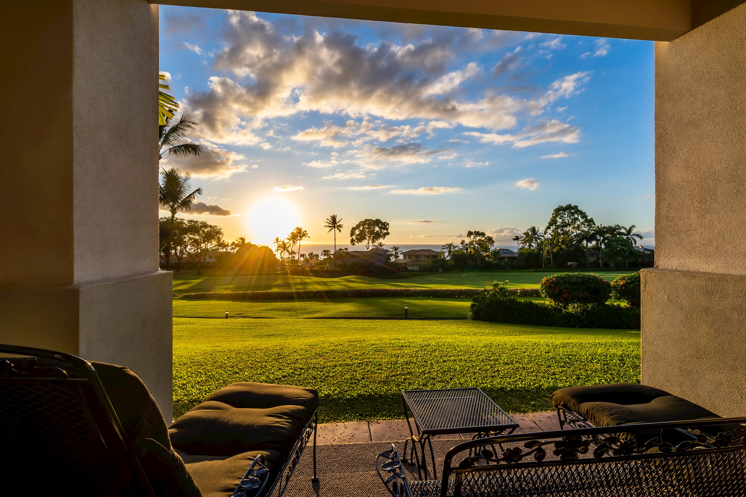 This is one of the best locations at Wailea Fairway Villas with fabulous, panoramic ocean views from Kahoolawe to Maalaea and stunning, year-round sunsets. Overlooking the 11th Fairway of the Wailea Blue Course, the unit offers a private, peaceful and tropical feel. Walk out the lanai and you have nothing but green grass in front of you to enjoy a morning coffee or sunset cocktail. Lay a blanket out on the grass and take in the evening star shows. Inside, the property has been extremely well maintained and lightly used. In 2018, a new split AC system was installed in both bedrooms and living area to keep you cool and comfortable year-round. Enjoy the many amenities including the ocean view pool, spa, workout room, and BBQ area. And you are just a few minutes from all of the shopping and dining that Wailea offers. This is truly an amazing property. Call your favorite Realtor today to schedule a showing!