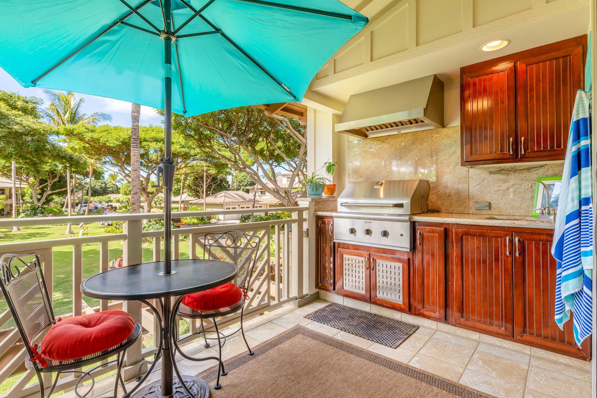 Outdoor kitchen with garden views
