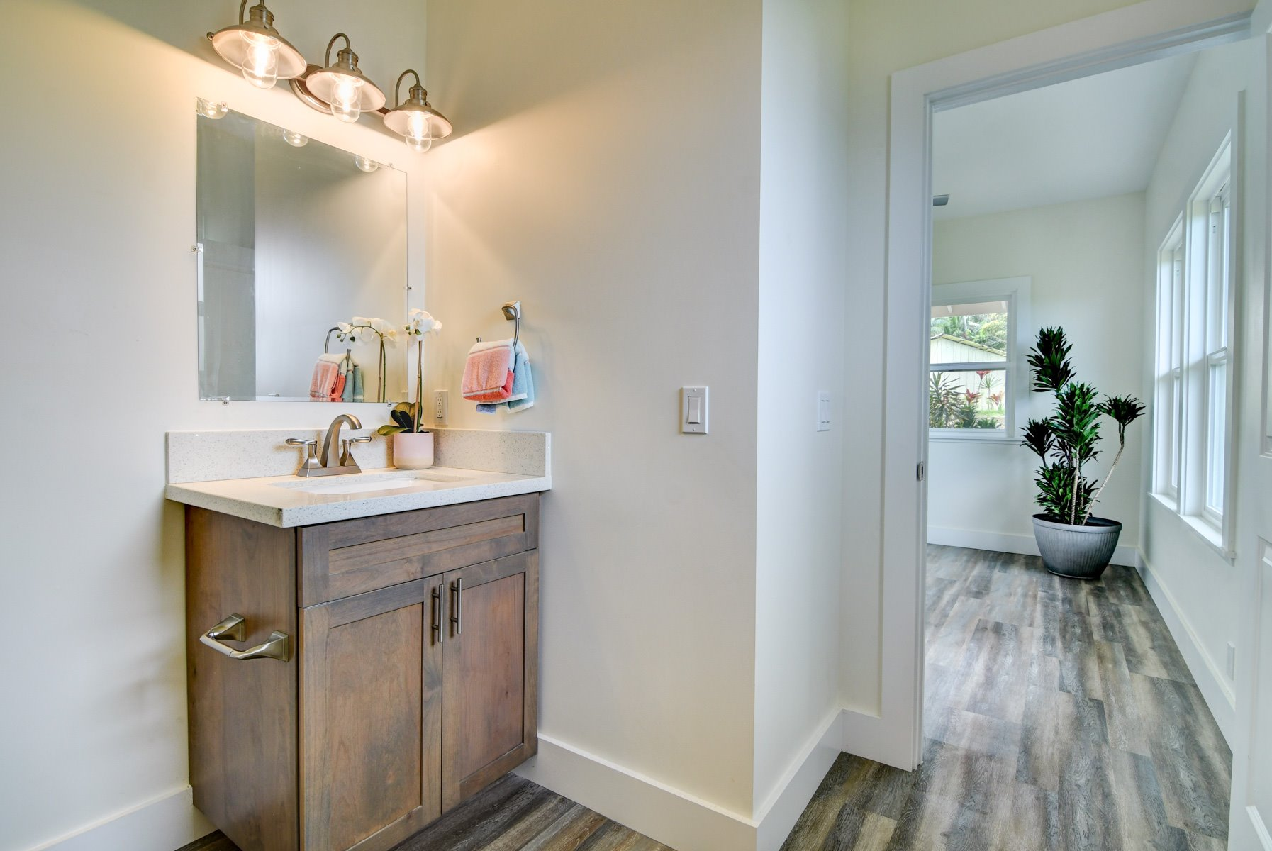 Ensuite guest bathroom which includes a walk in shower (located right behind camera shot)