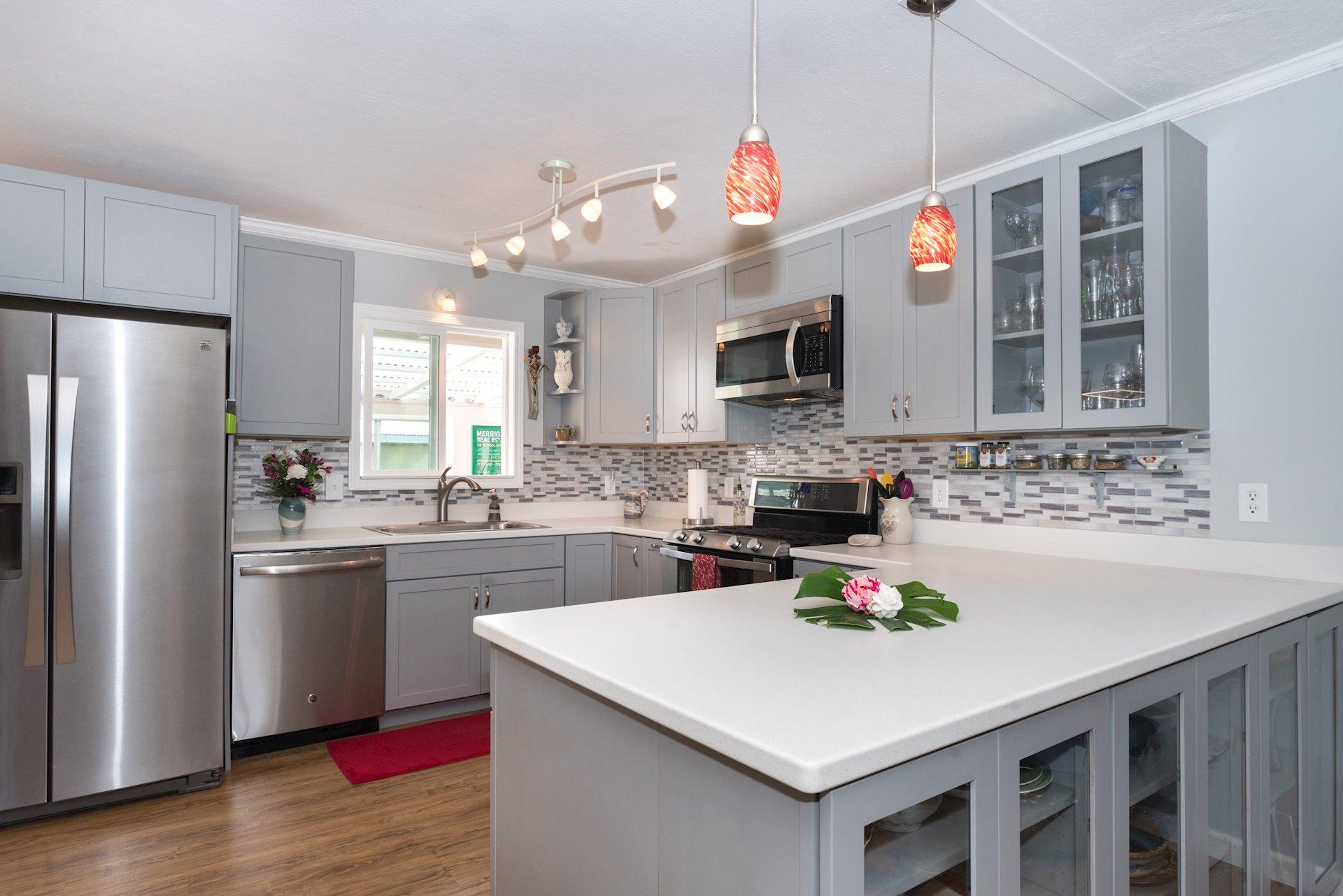Upgraded  Kitchen with Large Peninsula for Entertaining