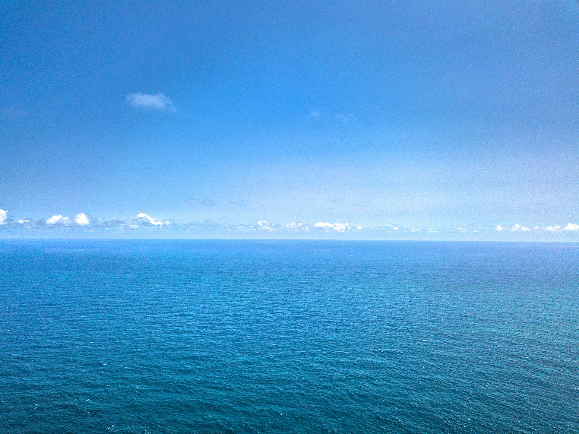 The peaceful Pacific from the air at Kapanai