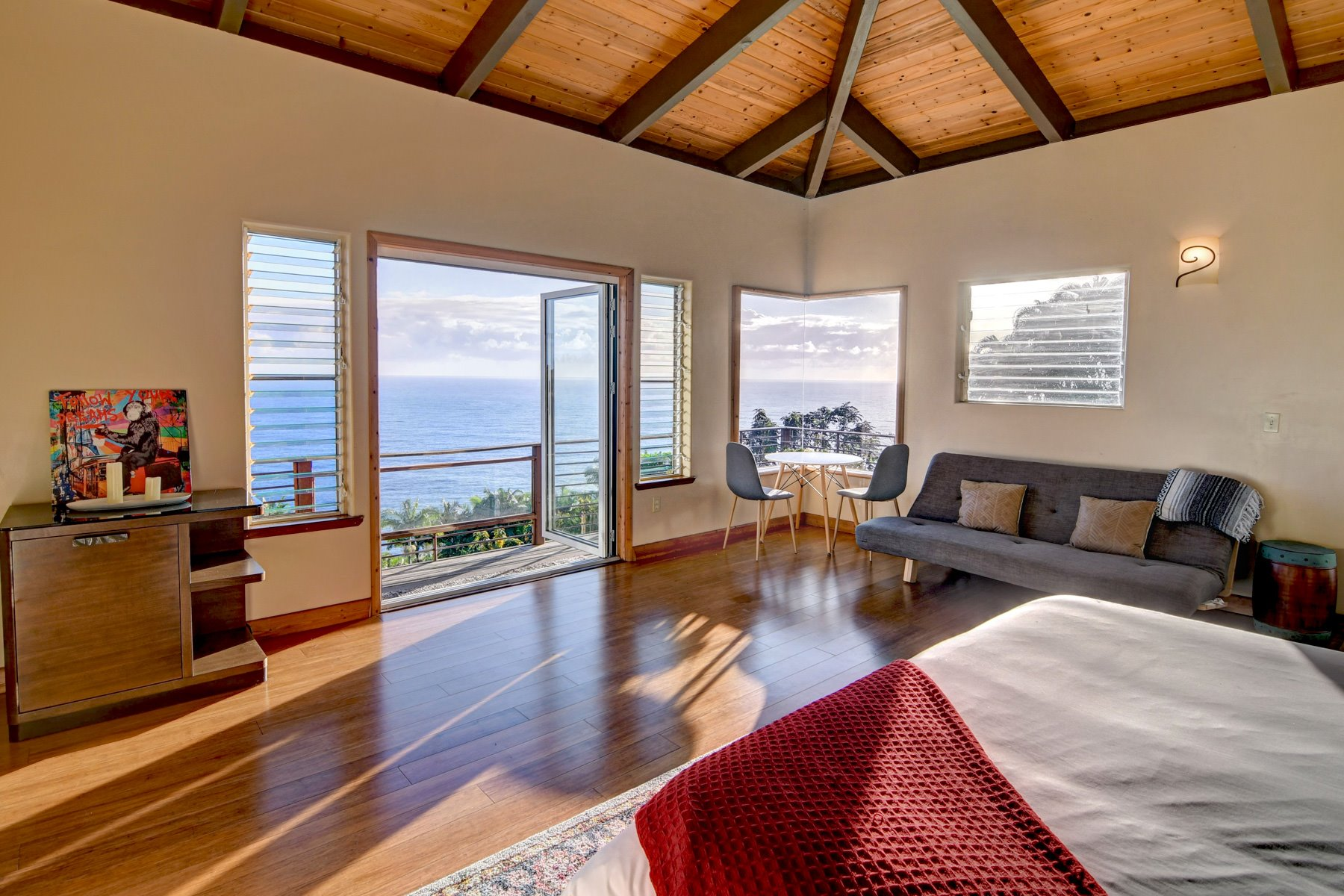 The master bedroom offers incredible views which are expanded upon with corner window.