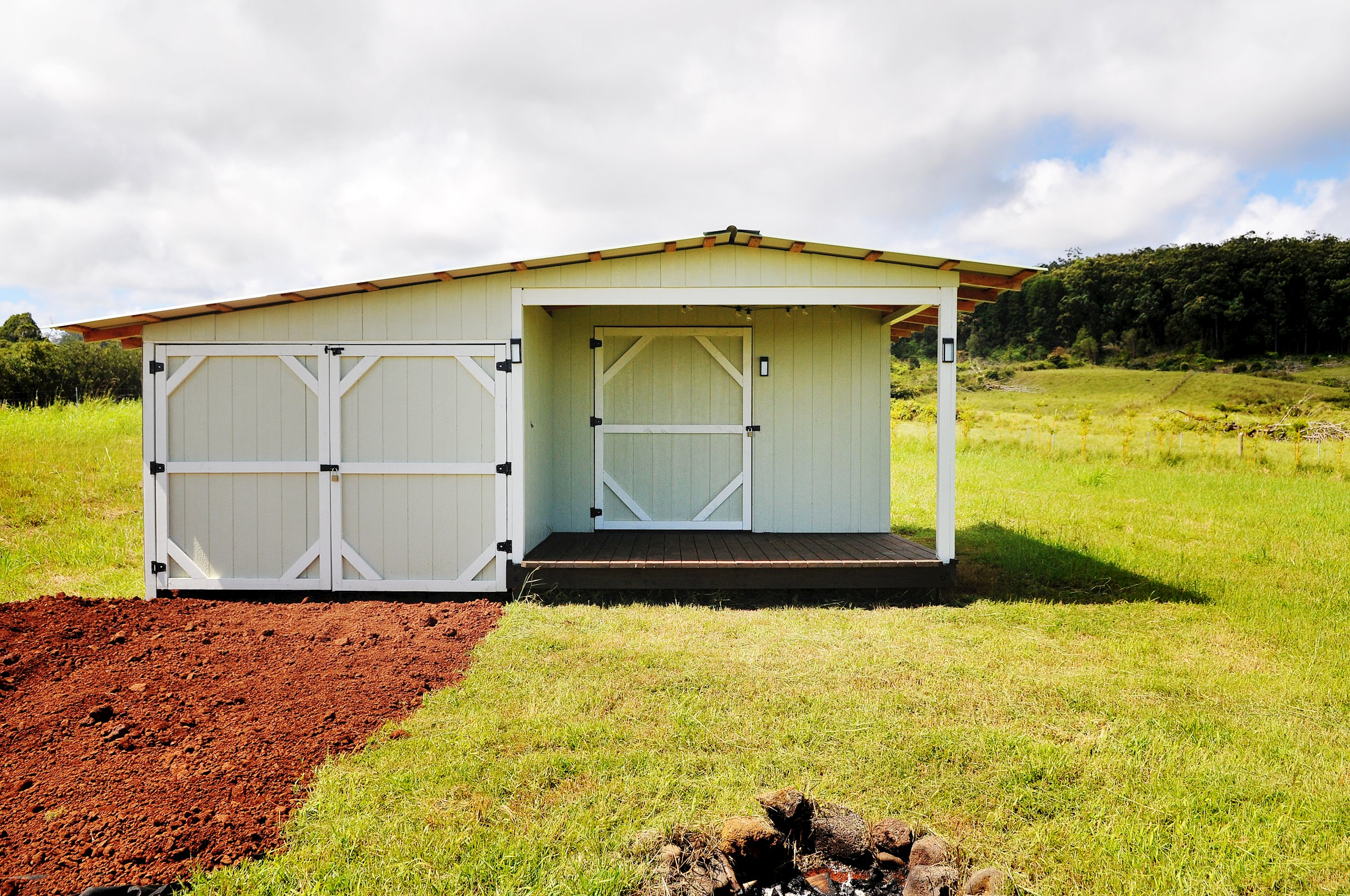 An ag shed with storage & compost toilet