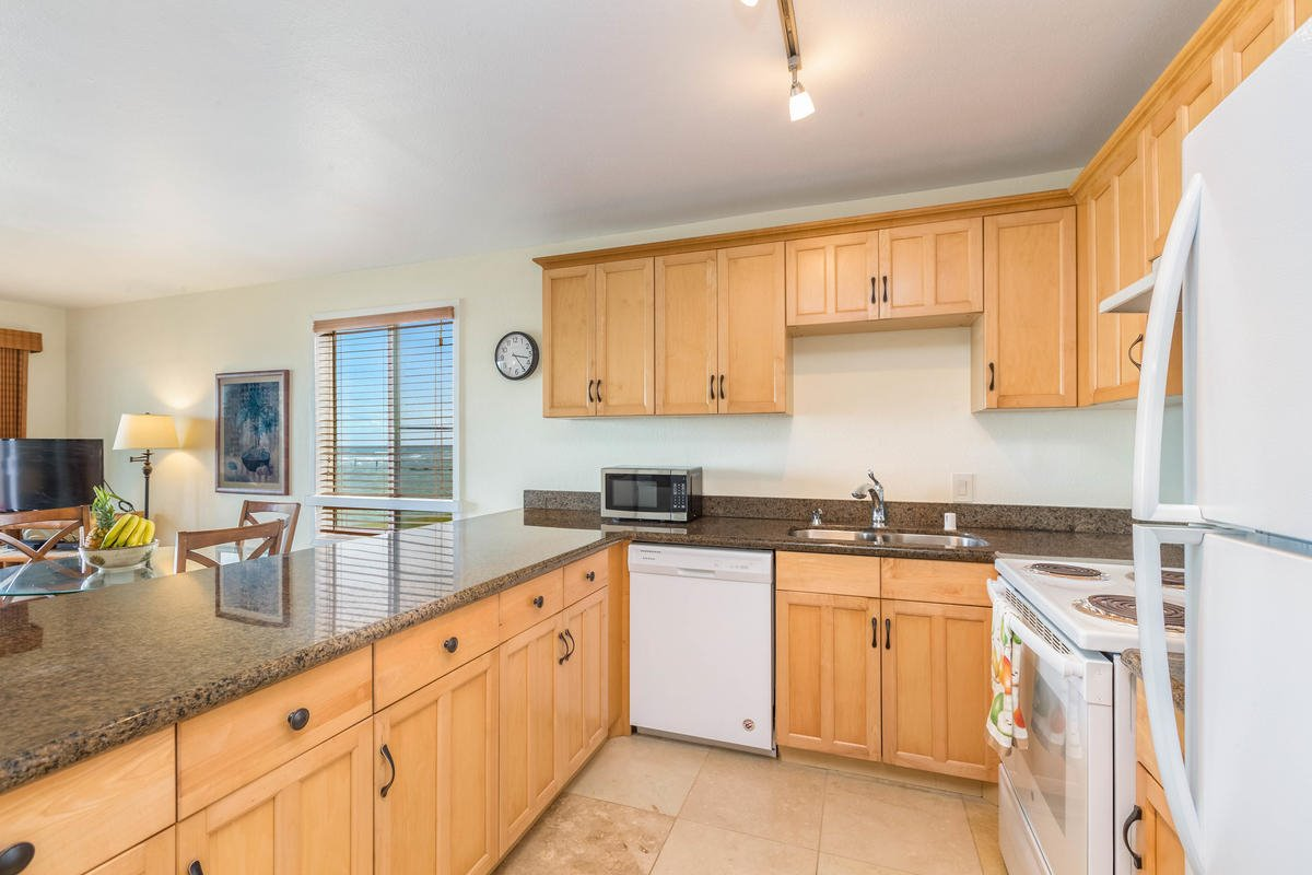 Kitchen with New Appliances & Travertine Floors