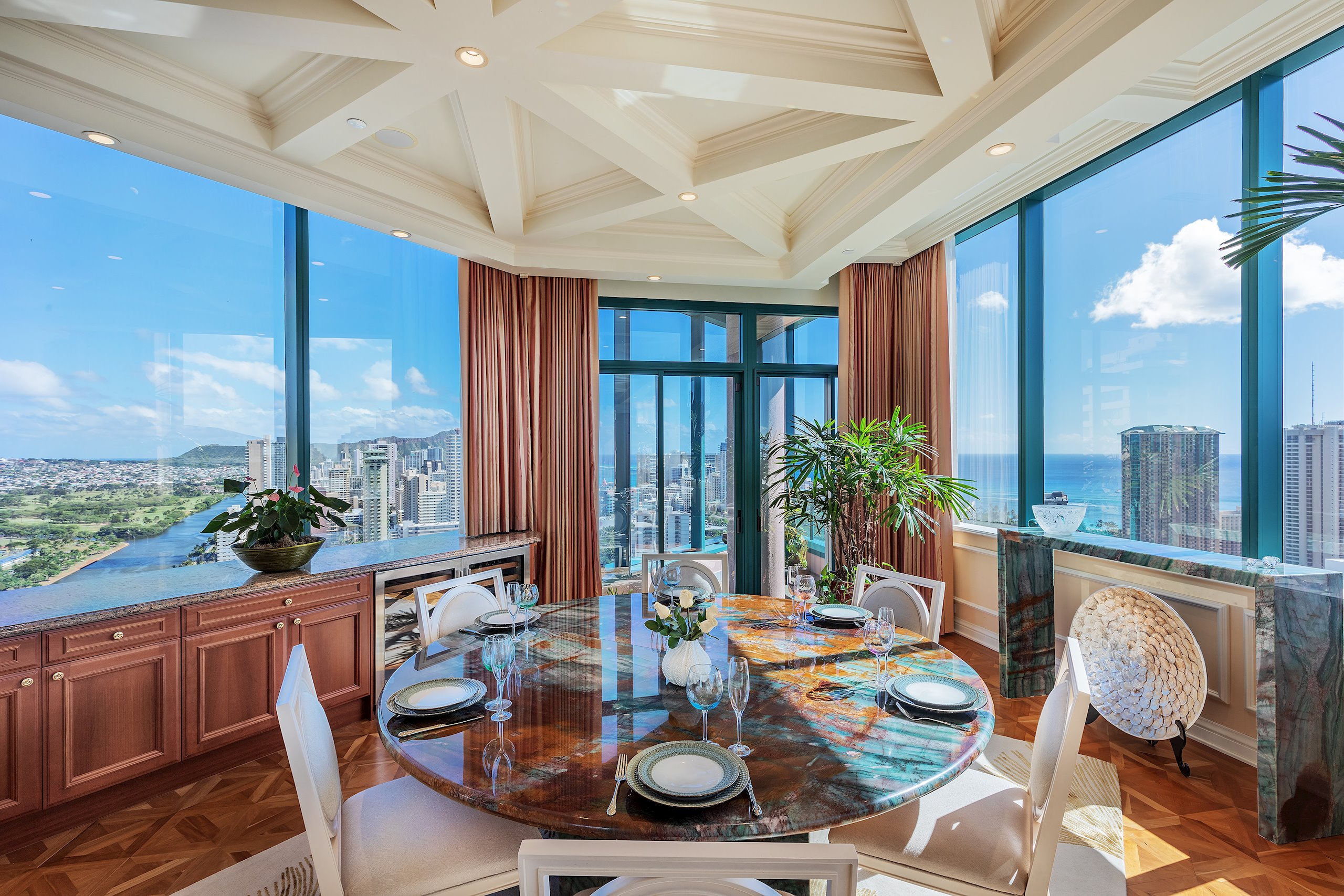 Refined luxury in this Brownstone inspired Waikiki Landmark Penthouse. Revel in the splendor of nearly 5,000 square feet of indoor an...