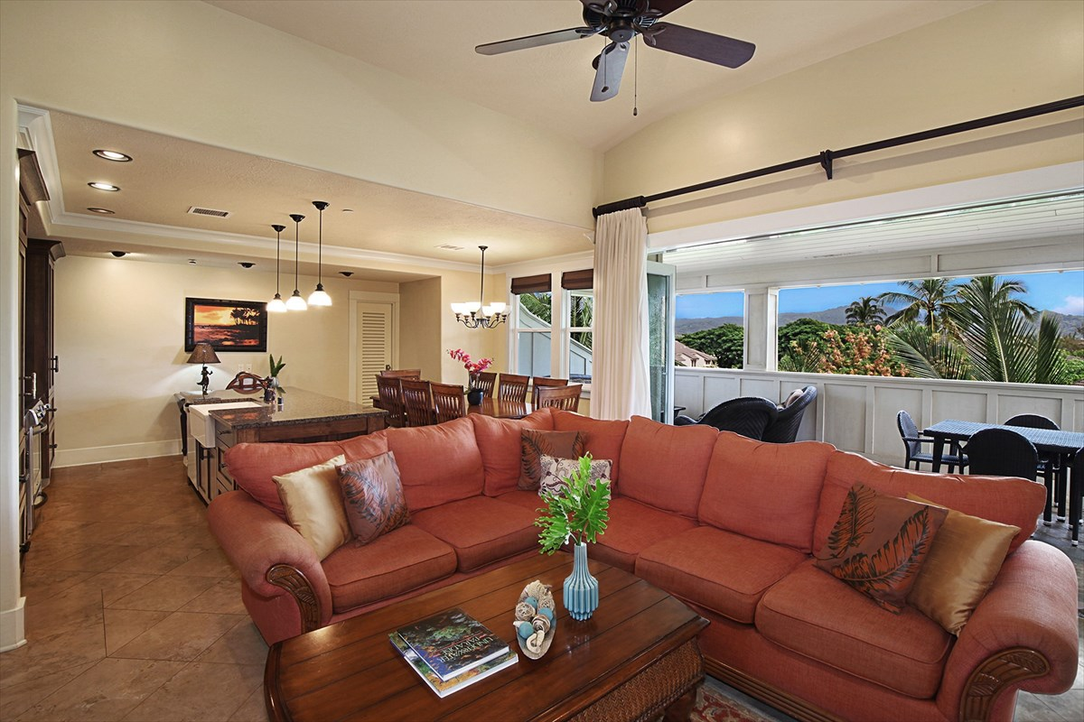 Capturing the top floor of each three story building is a single penthouse unit. There are just 5 of these special units within Villas at Poipu Kai. Unit D300 uniquely provides both ocean and mountain views and elevator access directly into the condominium. With air conditioned interiors and expansive lanai space this appealing floor plan provides the best of Kauai living.<br><br>High-end features include granite counters, Sub Zero and Kitchen Aid appliances, dark wood cabinets, travertine tile flooring, carpet, and windows and doors that bring in an abundance of light. Your penthouse offers 4 bedrooms and 3.5 baths of deluxe living.<br><br>All prospective buyers must read the public report and recorded documents, as they and the sales contract documents are the controlling documents for the project.<br><br>Experience the Villas at Poipu Kai.