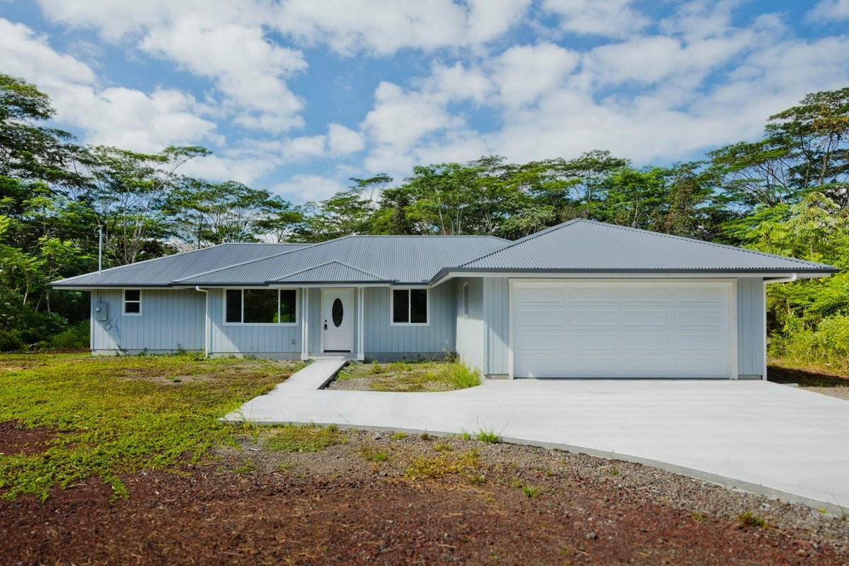 "BRAND NEW TASTEFUL SINGLE LEVEL FLOOR PLAN OFFERING 4 BEDROOM 2 BATH, 2,140 SQFT UNDER ROOF POPULAR WAI'OLU MODEL ON 1 ACRE LOT IN HPP. GREAT LOCATION NEAR ""SUN-BELT"" AREA AND CLOSE TO THE PAHOA AND KEAAU GROWING TOWNS FOR DINNING, SHOPPING, BANKING AND MORE.... ABOUT 8-9 STREETS AWAY FROM THE OCEAN CLIFF AREAS.<br>PROPERTY HIGHLIGHTS:<br>*PRIVATE WELL WATER (NO CATCHMENT MAINTENANCE)<br>*SOILD QUARTZ COUNTERTOP<br>*GE STAINLESS STEEL APPLIANCES<br>*SPLIT HOUSE PLAN MAXIMIZES FLOOR SPACE AND INSURES PRIVACY FOR ALL. *SPACIOUS MASTER SUITE WITH WALK IN CLOSET<br>*UPGRADED BATHROOMS<br>*LIFEPROOF VINYL FLOOR AND TILE FLOOR IN THE BATHROOM.<br>*ON DEMAND HOT WATER HEATER.<br>*CONCRETE DRIVEWAY AND WALKWAY<br><br>For HPP fees and road maintenance information, please check https://www.hppoa.net/, call: 808-966-4500, or email: info@hppoa.net<br><br>NOTE: Exterior Photos are subject property. Some of the interior photos shown are of model home with the same layout and quality materials, but not of subject property."