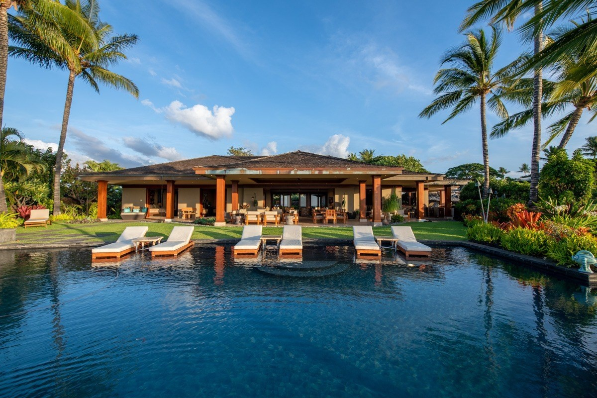 """Hualalai Resort: """"HALE LANI"""" (Heavenly Home), a custom estate with dramatic 180 degree ocean, fairway, Maui and sunset views. The spe..."""